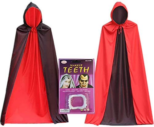 YF Vampire Cape with Hood and Vampire Teeth Reversible Red/Black Witch Cloak (47 inches)
