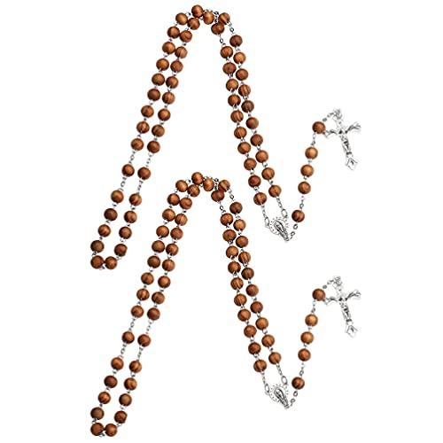 TOYANDONA 2 Piezas de Cuentas de Madera con Colgante de Cruz Collar con Crucifijo Rosario Religioso Joyería Amuleto Accesorios de Oración Hechos a Mano para Hombres Y Mujeres Pulsera de
