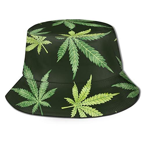 136 Happy Easter Watercolor Marihuana Leaves on Dark Unisex lindo estampado único cubo de viaje sombrero de verano pescador gorra