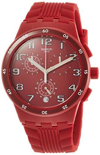 Swatch Unisex Erwachsene Chronograph Quarz Uhr mit Silikon Armband SUSR404