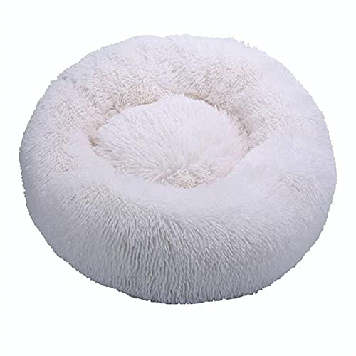 Cama para Mascotas de donas de Felpa, Blanco / Perro Gato Redondo bañado cálido Perrito Suave sofá anidado Mullido, Fondo antideslizante-40 cm