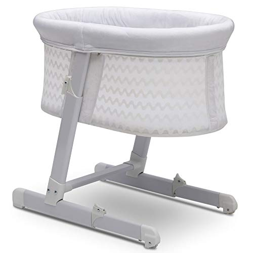 New Simmons Kids Oval City Sleeper Bedside Bassinet - Adjustable Height Portable Crib with Wheels & ...