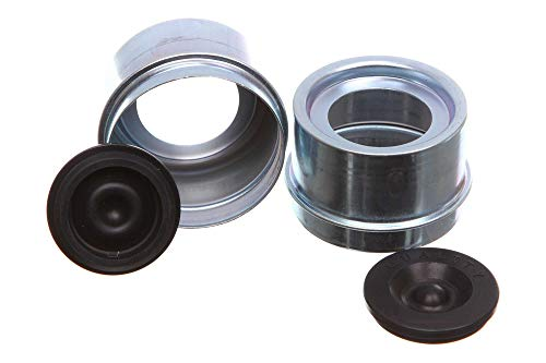 REPLACEMENTKITS.COM Brand Trailer Axle Metal Grease Caps with Plugs Fits 1.986 I.D. EZ-Lube Axle