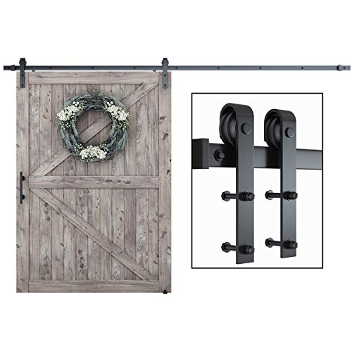 """SMARTSTANDARD 12ft Heavy Duty Sturdy Sliding Barn Door Hardware Kit - Smoothly and Quietly - Easy to Install - Includes Step-by-Step Installation Instruction Fit 72"""" Wide Door Panel(J Shape Hanger)"""