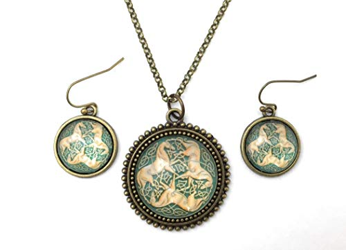 Celtic Horse Necklace and Earring Set - Three Horse Celtic Knot - Handmade