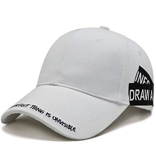 Unisex Sports Cap gewaschener Baumwolle Baseball Cap Men & Women Casual Adjustable Außen Trucker Hysteresen-Hut,Weiß