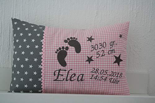 Taufkissen Babyfüsse rosa grau mit Namen bestickt und Inlett *1