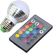 LEDMOMO 3W RGB LED Bulb E27 Color Changing Light Bulb with Remote Contorl 85-265V