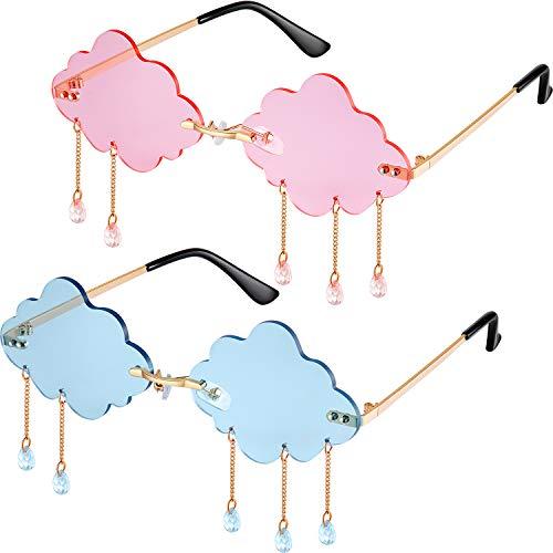 2 Pairs Tassel Clouds Shaped Sunglasses Rimless Men Women 90s Disco Sunglasses (Light Blue, Pink)