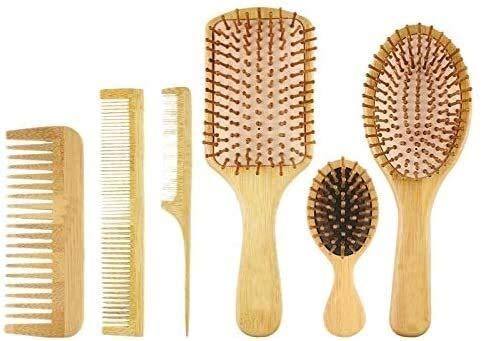Dfghbn Peine 6pc / Set Peine de Madera Cojín de Paleta Saludable Cojín de Cabello Cepillo de Masaje Peinado Peine Peine Scalp Hair Care Saludable bambú Peine