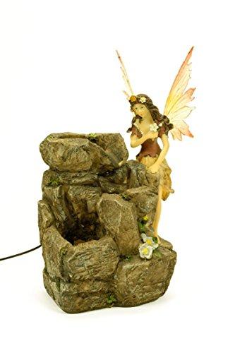 CAPRILO Fuente de Agua Decorativa con Luz Hada Adornos Resina. 19 x 13 x 29 cm.
