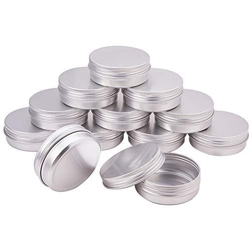 PandaHall Elite - Lot de 30 Pcs Boites de Rangement Rondes en Aluminium pour Perles Boîte Colonne Pots vides en Aluminium Conteneurs de Perles Bijoux, Platine, 60ml 6.8x2.5cm