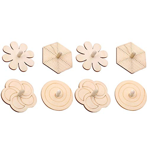 Why Choose PRETYZOOM 8pcs Wooden Spinning Top DIY Blank Painting Wooden Toy Unfinished Spinning Top ...