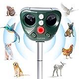 TLICLXY Repelente de Animales Ultrasónico, Impermeable Repelente para Gatos 5 Modo Ajustable, Carga Solar y USB, con Sensor IR de frecuencia LED, para Alejar Ratones, Perros, Pájaros, Zorros