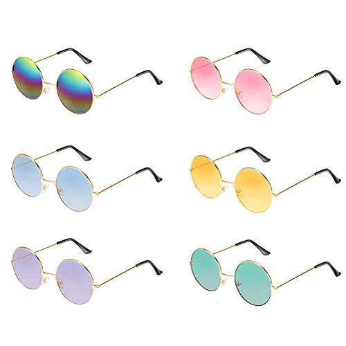 6 paar ronde hippie-zonnebrillen in 60-stijl met cirkelvormige glazen.