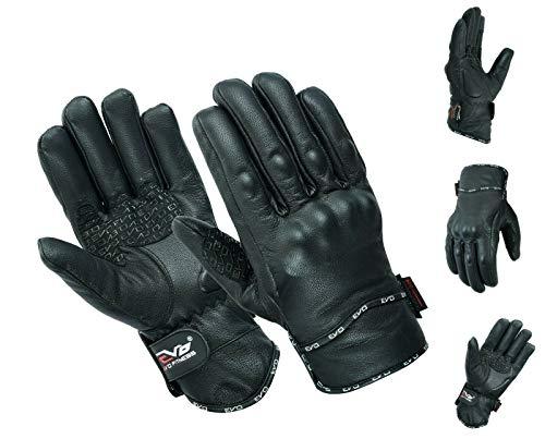 EVO Gants de moto professionnels en cuir Thinsulate Hipora, coupe-vent, imperméable, thermique, coque en carbone (noir, S)