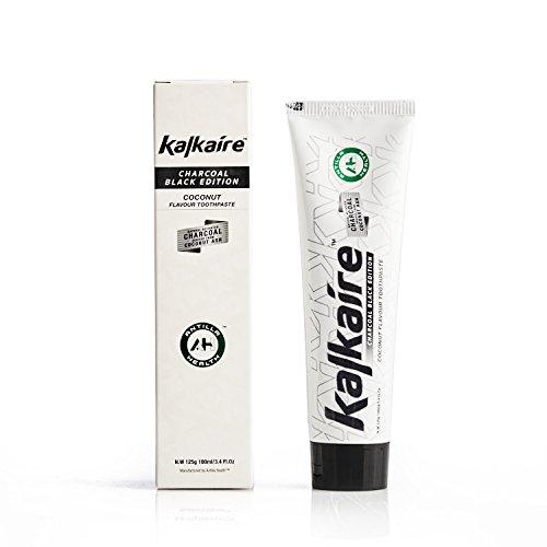 AH Kalkaire - Bamboe Actieve Koolstof Zwarte Tandpasta - Fluoride Vrije Witmakende voor Gevoelige Tanden - Witmakende Tandpasta - Natuurlijke Whitening Agent - Kokosnoot