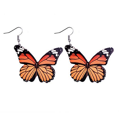 BNMY Pendientes De Cuero De Mariposa, Pendientes De Cuero PU Impresos A Doble Cara, Pendientes Delicados, para Regalo De Mujer,D