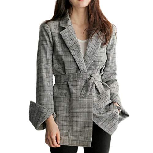HOSD Spring Autumn Women Grey Plaid Office Lady Blazer Fashion Bow Fajas Chaquetas de Manga Dividida Elegante Trabajo Blazers Feminino Gris S