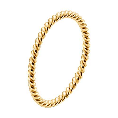 IDENTIM Kordelring Alle Farben 925 Silber Gold Vergoldet Goldring Poliert Feiner Dünner Damenring 1,50mm breit Wickelring Kordel 125227/125229 (925 Silber Gold Vergoldet, 58 (18.5))