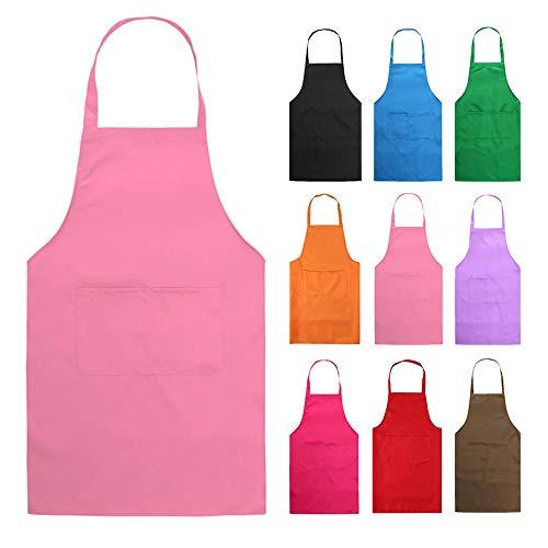 HMILYDYK Kochschürze, Unisex-Modell, Schürze mit praktischer Tasche, Langlebig, Grillen und Backen Rosa