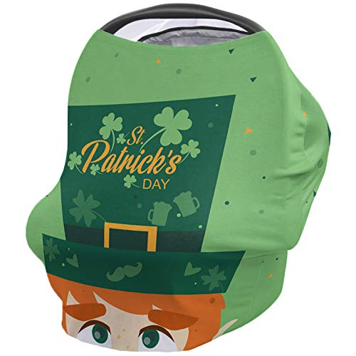 Baby Car Seat Cover, Versatile Stretchy St. Patrick's Day Shamrocks Mystic Leprechaun Hat Celtic Irish Clover Babies Car Seat Protector Stroller Canopy Covers for Babies Travel Breastfeeding Covers