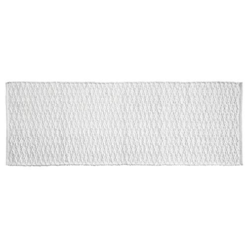 mDesign Soft 100% Cotton Luxury Hotel-Style Rectangular Spa Mat Rug, Plush Water Absorbent, Diamond Design - for Bathroom Vanity, Bathtub/Shower, Machine Washable - Long Runner, 60' x 21' - White