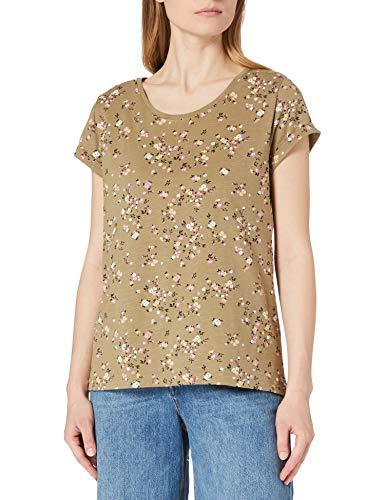 edc by Esprit Basic Print Camiseta, 348/Light Khaki 4, M para Mujer
