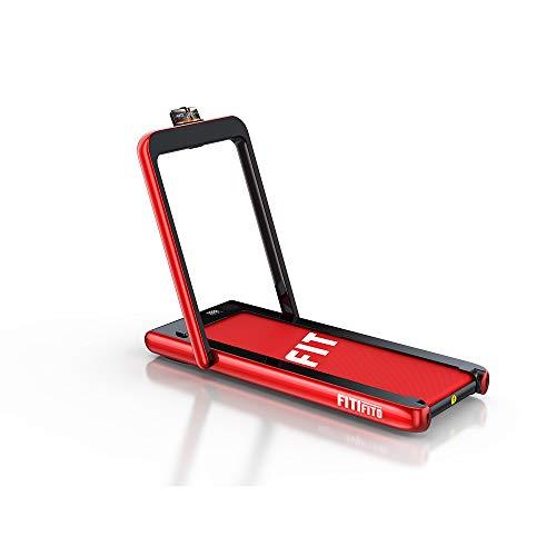 Fitifito ST100 elektrisches Laufband in Rot 1-12 km/h | mit Bluetooth-Verbindung | einfach klappbar | leicht verstaubar | mit Handyhalter