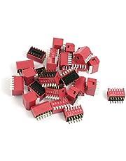 X-DREE 28 Pcs 2.54mm Pitch 6 Posiciones Tipo DIP Interruptores DIP Rojo (Interrupteurs DIP de type' Slide, Positions à glissière, 28 positions au pas de 2.54mm, rouge