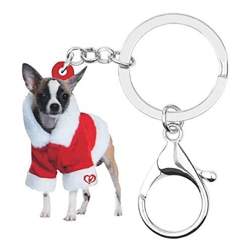 WEVENI - Llavero de acrílico de Navidad para perro chihuahua animal mascota