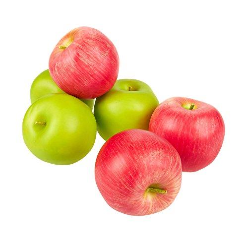 Juvale Set van 6 Nep Fruit Appels - Kunstmatig Fruit Plastic Appels voor Stilleven Schilderijen, Berg Decoratie, Keuken Decor, Rood en Groen - 2.7 x 2.2 x 2.5 inch