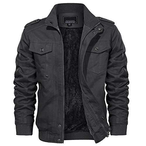 TACVASEN Men's Military Cotton Jacket Thicken Winter Cargo Coat, Grey, S