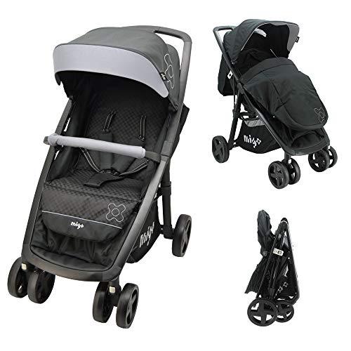 Poussette légère et compacte - poussette bébé maniable, facile à plier pour les bébés de 0 à 36 mois avec couvre-jambes (Gris)