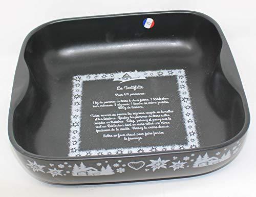 VEGA Plat à Four Noir déco Recette de la TARTIFLETTE 25 X 25 X 6.5 CM