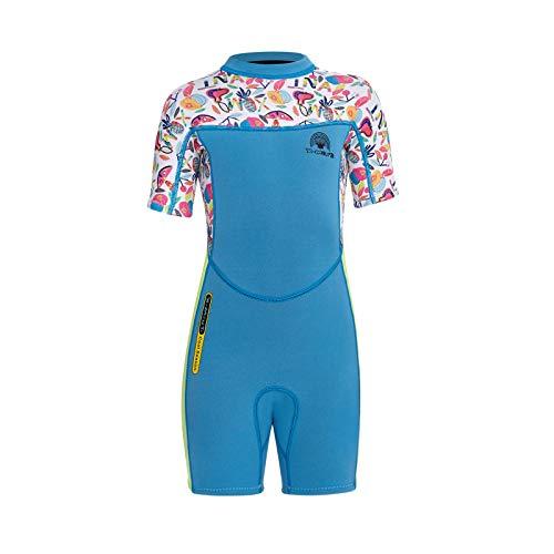 HWZZ Traje de neopreno personalizado para niñas Divesuit de fácil deslizamiento con cremallera para niños, traje de buceo para natación, traje de surf, azul, XL