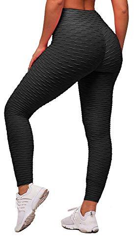 Memoryee Frauen Honeycomb Leggings geraffte Hintern heben hohe Taille Yogahosen schick mit Taschen Sport Bauch Kontrolle Gym/Black/S