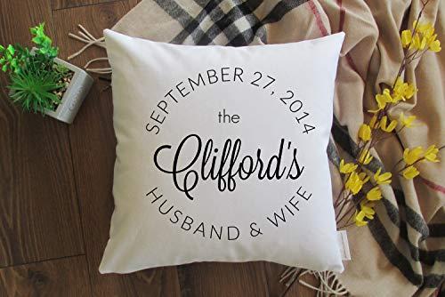 'N/A' Funda de almohada personalizada con apellido y fecha de boda Mr and Mrs. Funda de almohada personalizada regalo de boda fecha
