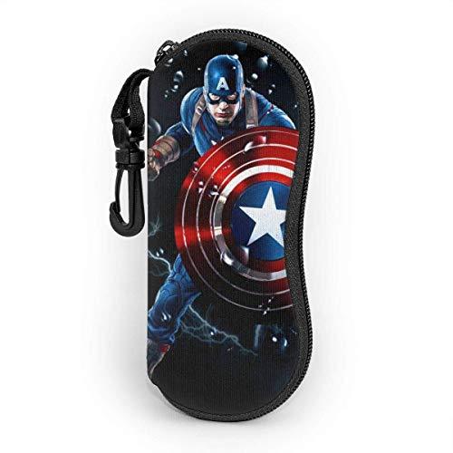 GERERIC Estuche Para Las Gafas,Capitán América El Vengador Funda De Neopreno Con Cremallera,Estuche Plegable De Gafas,Funda Portátil Caja Para Gafas De Sol