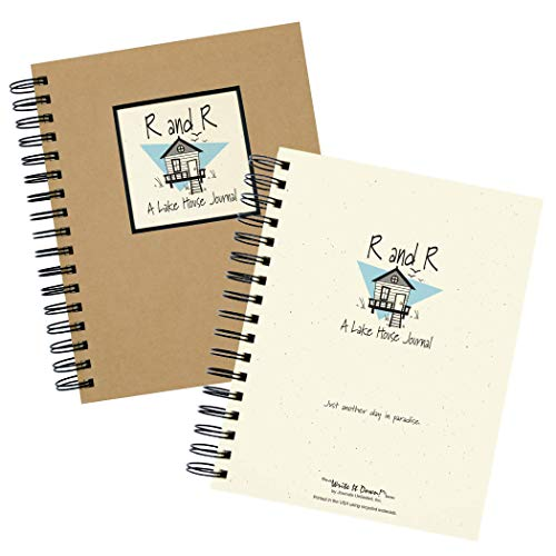 """Journals Unlimited """"Write it Down!"""" Series Guided Journal, R and R, A Lake House Journal, with a Kraft Hard Cover, Made of Recycled Materials, 7.5""""x 9"""""""