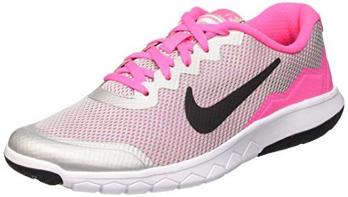 Nike Mädchen Flex Experience 4 (GS) Laufschuhe, Silber/Schwarz/Weiß/Pink (Mtllc Silber/Blck-Wht-Pnk Pw), 37 1/2 EU