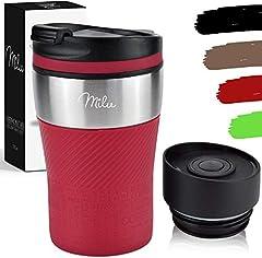 Milu Termo Taza 210ml - Vaso Termico de Viaje - Café para Llevar - Taza de Viaje - Taza de acero inoxidable para beber - con aislamiento de doble pared (Rojo, 210ml)