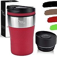 milu tazza termica da viaggio per caffè 210ml - 100% a prova di perdite - isolata tazza di caffè e tè da portare via tazza termica da bere in acciaio inossidabile - caldo e freddo - rosso