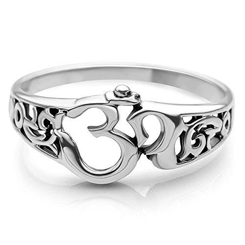 Suvani Jewelry 925 Sterling Silver Aum Om Ohm Sanskrit Symbol Filigree Design Meditation Yoga Band Ring (9)