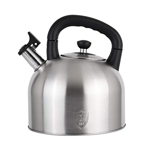 Stove Top Kettle For Gas,Flat Bottom Stovetop Teakettle Stainless Steel Whistle Kettle Thickening Tea Coffee Gas Induction Cooker Universal (Couleur : Sand color, taille : 4L)