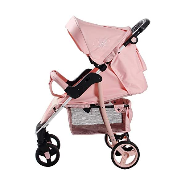 My Babiie Billie Faiers MB30 Pink Stripes Pushchair My Babiie Stylish ultra-modern pushchair, padded removable front bar, height adjustable handle, hood includes storage pocket Extendable 3 position canopy, multi-position one handed adjustable backrest, great on the go being lightweight but strong, lockable front swivel wheels, rear wheels link brake Compact fold, adjustable 2-position foot rest for extra comfort, large storage basket under the seat, padded 5 point safety harness making this one of the safest little movers around 4