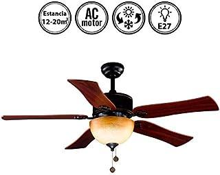 Lámpara Ventilador de Techo Color Negro. 5 Aspas. Color Cerezo. 2xE27. 122 cm Diámetro.