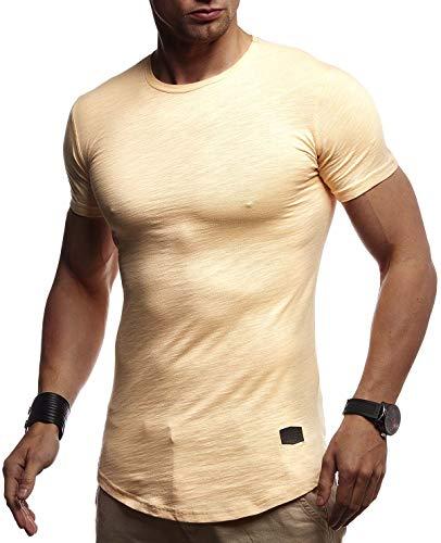 Leif Nelson Herren Sommer T-Shirt Rundhals Ausschnitt Slim Fit Baumwolle-Anteil Cooles Basic Männer T-Shirt Crew Neck Jungen Kurzarmshirt O-Neck Kurzarm Lang LN8312 Orange X-Large