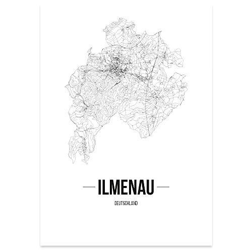JUNIWORDS Stadtposter - Wähle Deine Stadt - Ilmenau - 60 x 90 cm Poster - Schrift B - Weiß