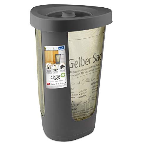 Rotho Fabu Müllsackständer gelber Sack mit Deckel, Kunststoff (PP recycelt) BPA-frei, anthrazit, (40.0 x 40.0 x 62.1 cm)